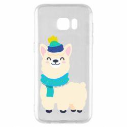 Чехол для Samsung S7 EDGE Llama in a blue hat