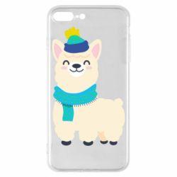 Чехол для iPhone 8 Plus Llama in a blue hat