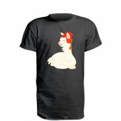 Удлиненная футболка Llama in a red hat