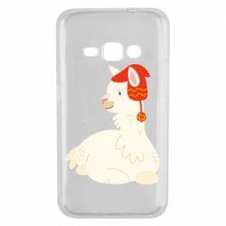 Чехол для Samsung J1 2016 Llama in a red hat