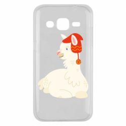 Чехол для Samsung J2 2015 Llama in a red hat