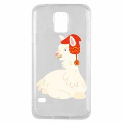 Чехол для Samsung S5 Llama in a red hat