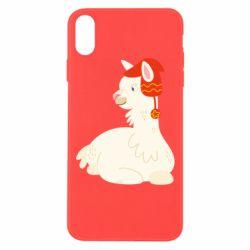 Чехол для iPhone Xs Max Llama in a red hat