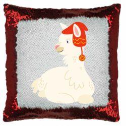 Подушка-хамелеон Llama in a red hat