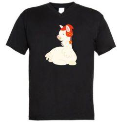 Мужская футболка  с V-образным вырезом Llama in a red hat