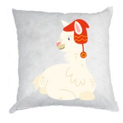 Подушка Llama in a red hat