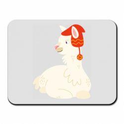 Коврик для мыши Llama in a red hat