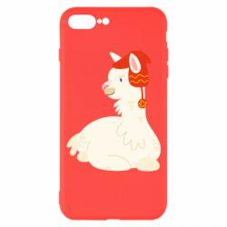 Чехол для iPhone 7 Plus Llama in a red hat