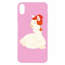 Чехол для iPhone X/Xs Llama in a red hat