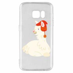 Чехол для Samsung S7 Llama in a red hat