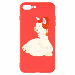 Чехол для iPhone 8 Plus Llama in a red hat