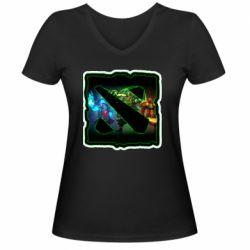 Женская футболка с V-образным вырезом Logo and heroes