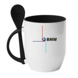 Кружка с керамической ложкой Logo BMW  4