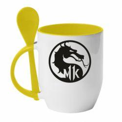 Кружка с керамической ложкой Logo Mortal Kombat 11