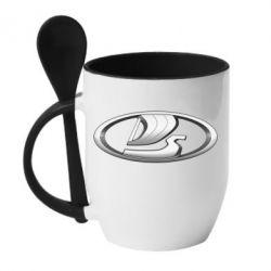 Кружка с керамической ложкой Logo vase
