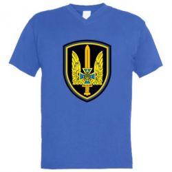 Мужская футболка  с V-образным вырезом Логотип Азов - FatLine