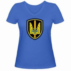 Женская футболка с V-образным вырезом Логотип Азов - FatLine