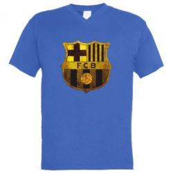 Мужская футболка  с V-образным вырезом Логотип Барселоны - FatLine