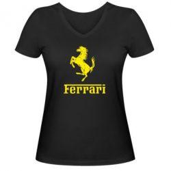 Женская футболка с V-образным вырезом логотип Ferrari - FatLine