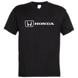 Чоловічі футболки з V-подібним вирізом Логотип Honda - FatLine