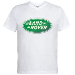 Мужская футболка  с V-образным вырезом Логотип Land Rover - FatLine