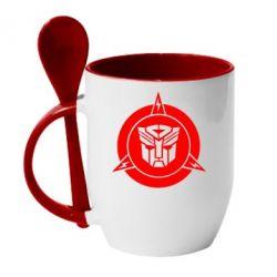 Кружка с керамической ложкой Логотип Трансформеры