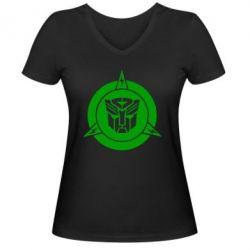 Женская футболка с V-образным вырезом Логотип Трансформеры