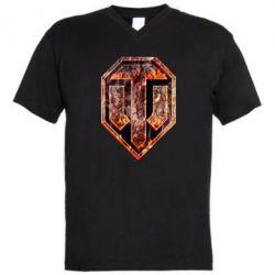 """Мужская футболка  с V-образным вырезом Логотип World Of Tanks """"Раскаленный металл"""" - FatLine"""