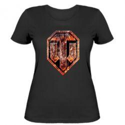 "Женская футболка Логотип World Of Tanks ""Раскаленный металл"" - FatLine"