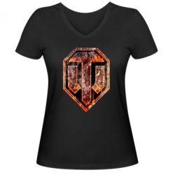 """Женская футболка с V-образным вырезом Логотип World Of Tanks """"Раскаленный металл"""" - FatLine"""