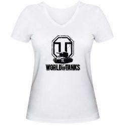 Женская футболка с V-образным вырезом Логотип World Of Tanks