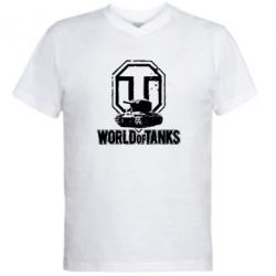 Мужская футболка  с V-образным вырезом Логотип World Of Tanks