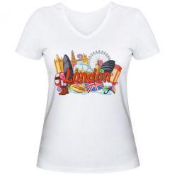 Жіноча футболка з V-подібним вирізом London mix
