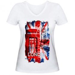 Женская футболка с V-образным вырезом Лондон