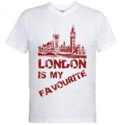 Мужская футболка  с V-образным вырезом Лондон