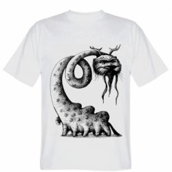 Мужская футболка Long-necked Mustachioed Monster