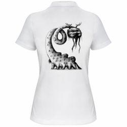 Женская футболка поло Long-necked Mustachioed Monster