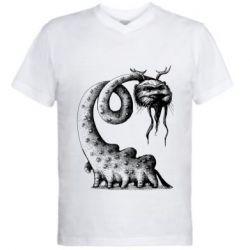 Мужская футболка  с V-образным вырезом Long-necked Mustachioed Monster