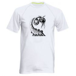 Мужская спортивная футболка Long-necked Mustachioed Monster
