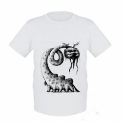 Детская футболка Long-necked Mustachioed Monster