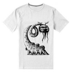 Мужская стрейчевая футболка Long-necked Mustachioed Monster