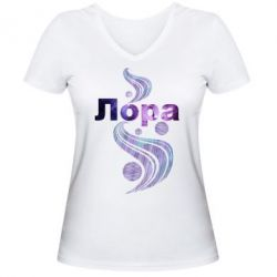 Женская футболка с V-образным вырезом Лора