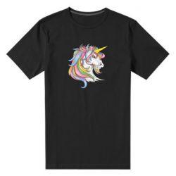 Чоловіча стрейчева футболка Кінь з кольоровою гривою