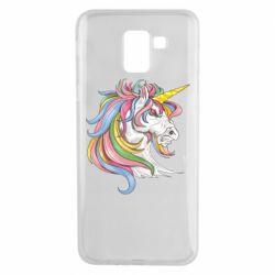 Чохол для Samsung J6 Кінь з кольоровою гривою