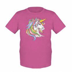 Дитяча футболка Кінь з кольоровою гривою
