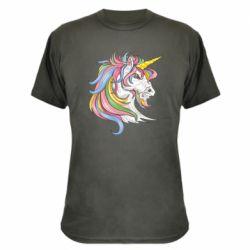 Камуфляжна футболка Кінь з кольоровою гривою