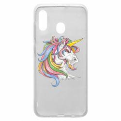 Чохол для Samsung A20 Кінь з кольоровою гривою