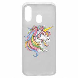 Чохол для Samsung A40 Кінь з кольоровою гривою