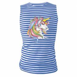 Майка-тільняшка Кінь з кольоровою гривою
