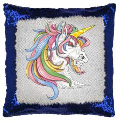 Подушка-хамелеон Кінь з кольоровою гривою